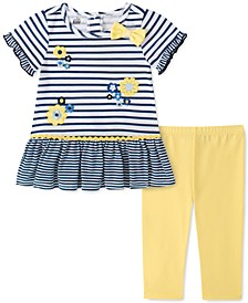 Toddler Girls 2-Pc. Daisy Striped Tunic & Leggings Set