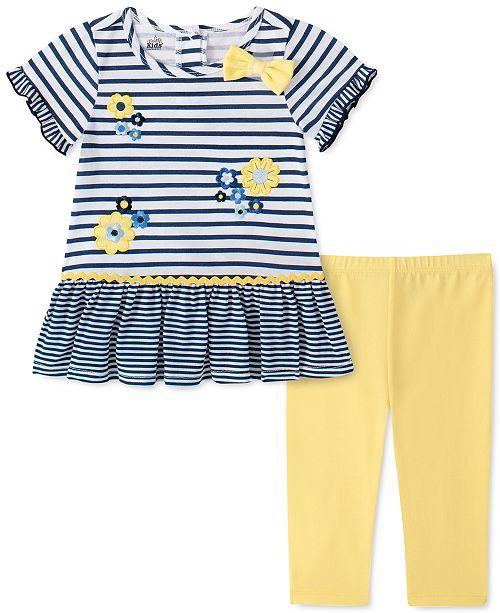 Kids Headquarters Little Girls 2-Pc. Daisy Striped Tunic & Leggings Set