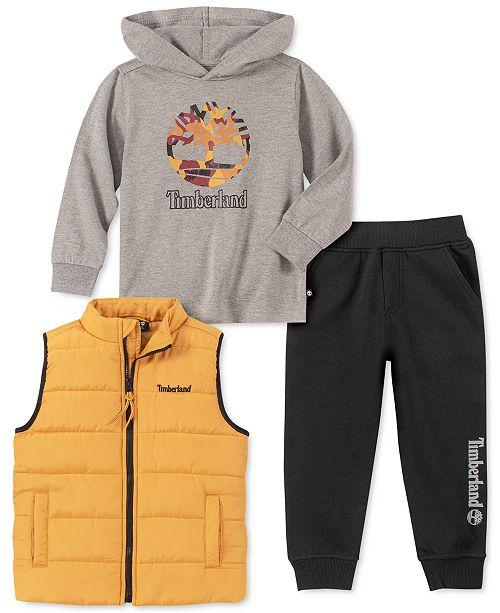 Timberland Little Boys 3-Pc. Puffer Vest, Hooded Logo T-Shirt & Logo-Print Sweatpants Set