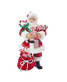 10.5-Inch Fabriché™ Santa With Christmas Candy and Bag