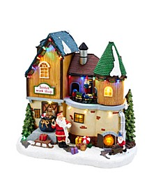 Battery-Operated Musical LED Santa's Workshop Table Piece