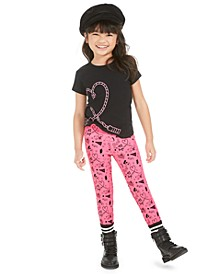 Little Girls 2-Pc. Heart T-Shirt & Printed Leggings Set, Created For Macy's
