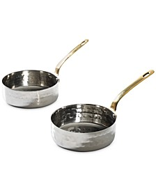 Mini Frying Pan 2-Pc. Set in Hammered Stainless Steel