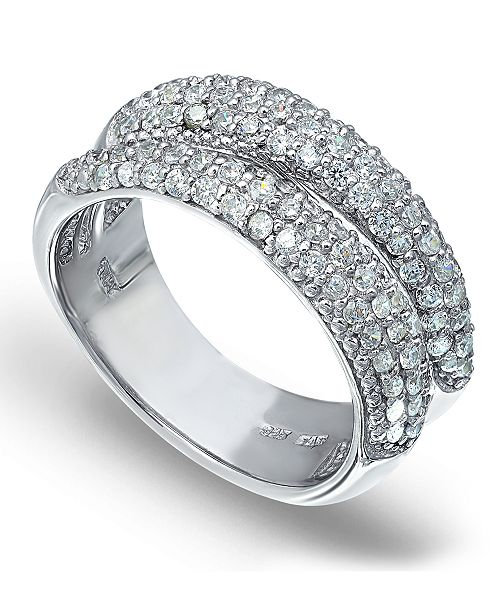 Macy's Pavé Cubic Zirconia Band Ring in Fine Silver Plate