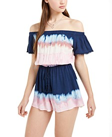 Bebop Juniors' Tie-Dyed Off-The-Shoulder Romper