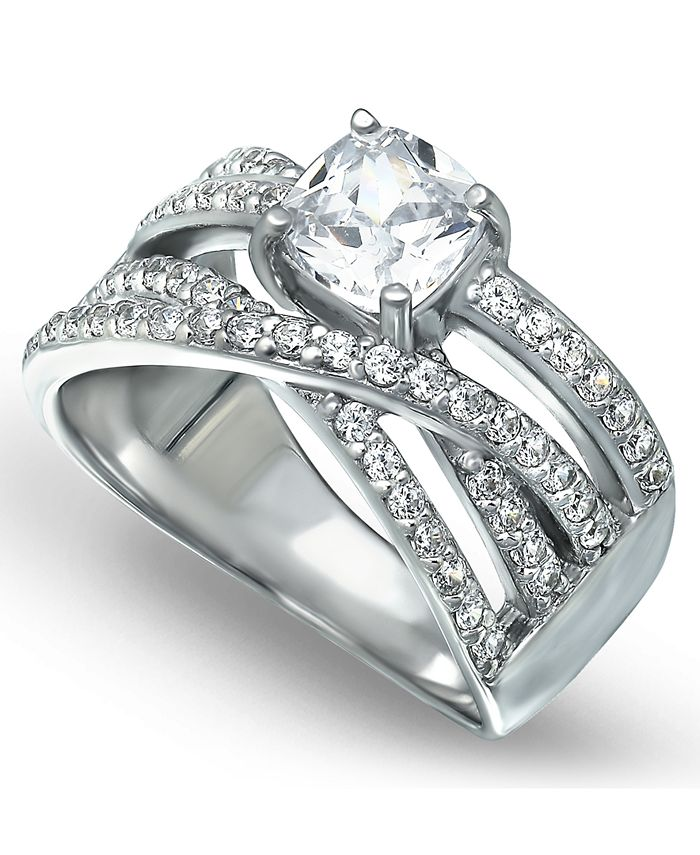 Macy's - Cubic Zirconia Intertwined Band with Cushion Prong Center Ring in Fine Silver Plate