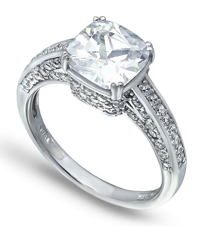 Macy's - Cubic Zirconia Cushion Stone Ring with Fancy Pavé Gallery in Fine Silver Plate