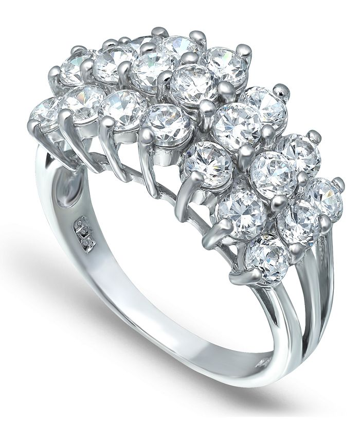 Macy's - Cubic Zirconia Round Prong Set 3 Row Ring in Fine Silver Plate