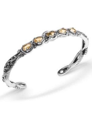 Yellow-Orange Citrine (1-3/4 ct. t.w.) Five Stone Cuff Bracelet in Sterling Silver