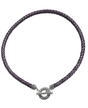 Purple Leather Toggle Necklace in Sterling Silver