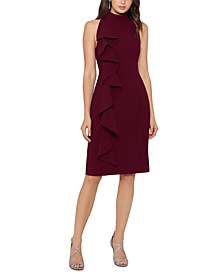 Cascade-Front Scuba Sheath Dress