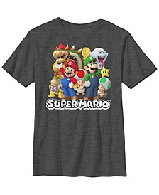 Nintendo Big Boy's Super Mario Good and Bad Guys Group Shot Short Sleeve T-Shirt