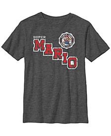 Nintendo Big Boy's Super Mario Varsity Emblem Vintage-Like Short Sleeve T-Shirt