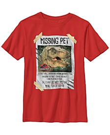 Jurassic Park Big Boy's Missing Pet T-Rex Poster Taped Short Sleeve T-Shirt
