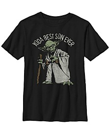 Star Wars Big Boys Yoda The Best Son Ever Portrait Short Sleeve T-Shirt