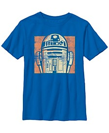 Star Wars Big Boys R2-D2 Distressed Retro Cartoon Short Sleeve T-Shirt