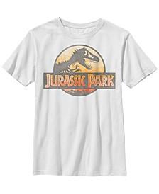 Jurassic Park Big Boys Reddish Orange Safari Logo Short Sleeve T-Shirt
