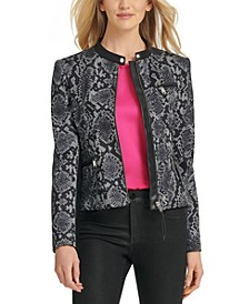 Snake-Embossed Faux-Leather-Trim Jacket