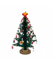 11.75-Inch Wooden Tree with Miniature Wooden Ornaments, 25 Piece Set