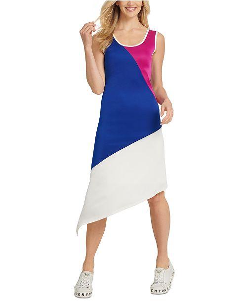 DKNY DKYN Colorblocked Asymmetrical Sleeveless Dress