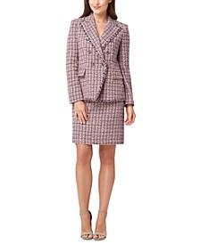 Petite Fringed-Trim Tweed Jacket & Tweed Skirt