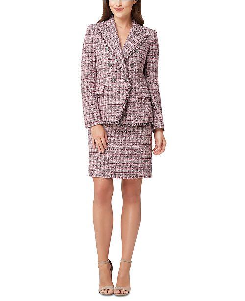 Tahari ASL Petite Fringed-Trim Tweed Jacket & Tweed Skirt