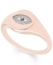 Diamond (1/20 ct. t.w.) Evil Eye Signet Ring in 14k Yellow or Rose Gold