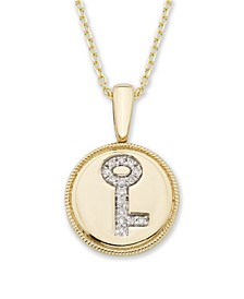 Diamond (1/20 ct. t.w.) Key Pendant in 14k Yellow or Rose Gold
