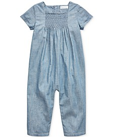 Baby Girls Chambray Coverall