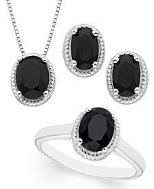 Black Onyx 3- Piece Set in Sterling Silver