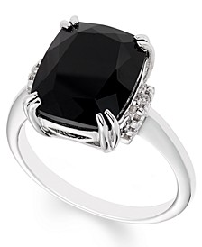Black Onyx (12 mm x 10 mm) Diamond Accent Ring in Sterling Silver