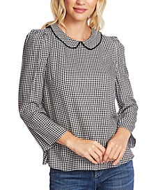 Collared Gingham-Print Top
