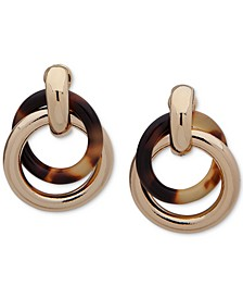 Gold-Tone & Tortoise-Look Circle Clip-On Drop Earrings