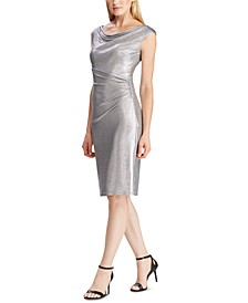 Metallic Cap-Sleeve Dress