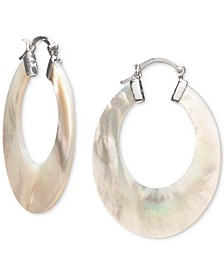 Mother-of-Pearl Medium Hoop Earrings in Sterling Silver, 1-1/4""