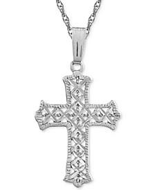 "Filigree Cross 18"" Pendant Necklace in Sterling Silver"