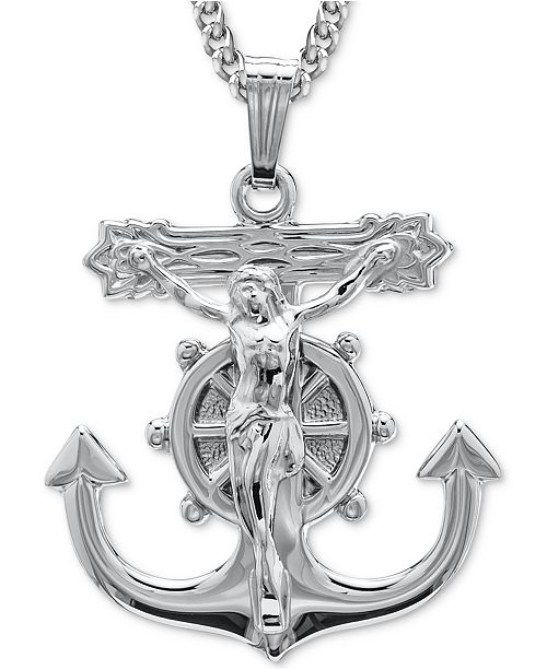 """Macy's Mariner's Anchor Crucifix 20"""" Pendant Necklace in Sterling Silver"""