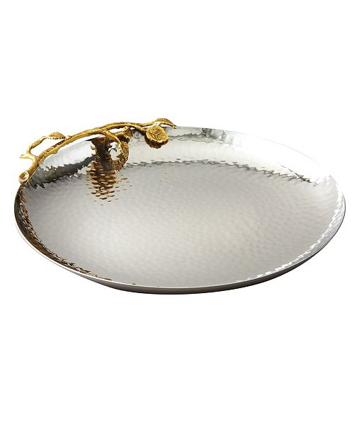 Leeber Gold tone Vine Hammered Stainless Steel Tray