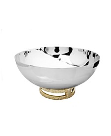 """11.5"""" Stainless Steel Bowl with Gold-Tone Loop Base"""