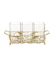 Gold-Tone Leaf Cutlery Holder with Hammered Glass Inserts