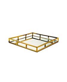 Gold-Tone Square Mirror Tray