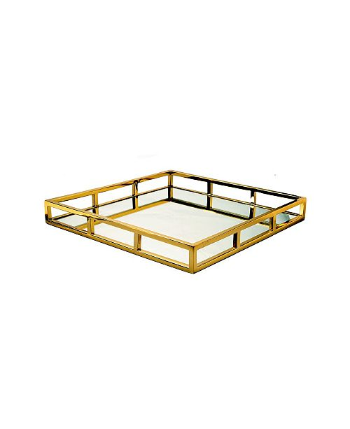 Classic Touch Gold-Tone Square Mirror Tray