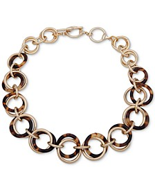 """Gold-Tone & Tortoise-Look Circle Collar Necklace, 16"""" + 2"""" extender"""