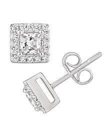 Certified Princess Diamond 1 ct. t.w. Halo Stud Earrings in 14k White Gold