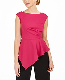 Knit Crepe Peplum Top