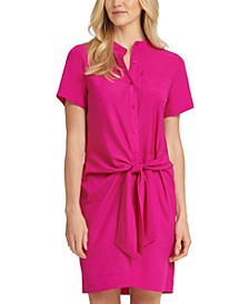 Tie-Front Button-Up Dress