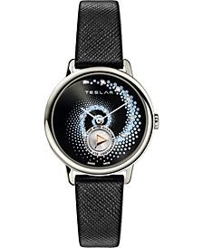 Women's Swiss Fibonacci Diamond (1/20 ct. t.w.) Black Leather Strap Watch 36mm