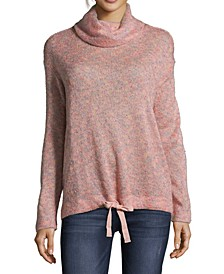 Cowlneck Drawstring-Hem Speckled Sweater