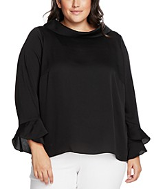 Plus Size Mock-Neck Bell-Sleeve Top