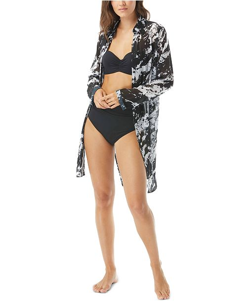 Carmen Marc Valvo Splash Printed Shirt Swim Cover-Up
